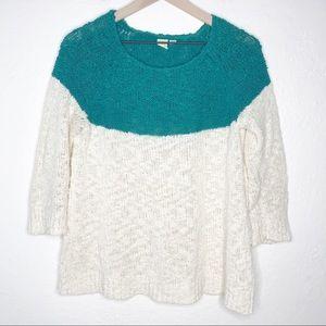 Yellow Bird Cream & Teal Color Block Crew Sweater